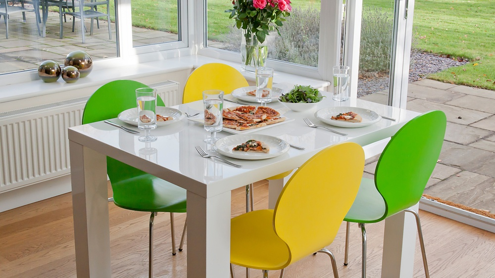4 seater dining set white gloss table coloured chairs uk