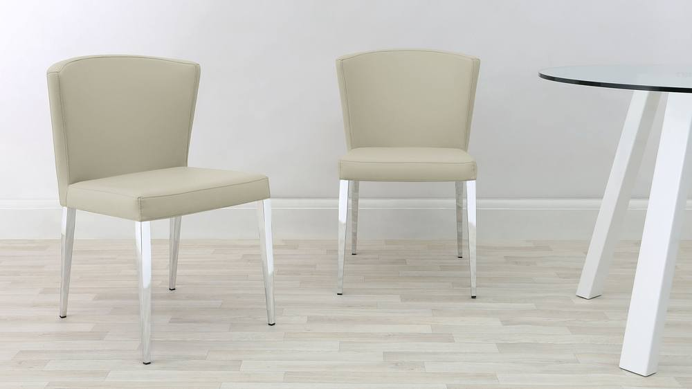Curved Back Beige Dining Chairs