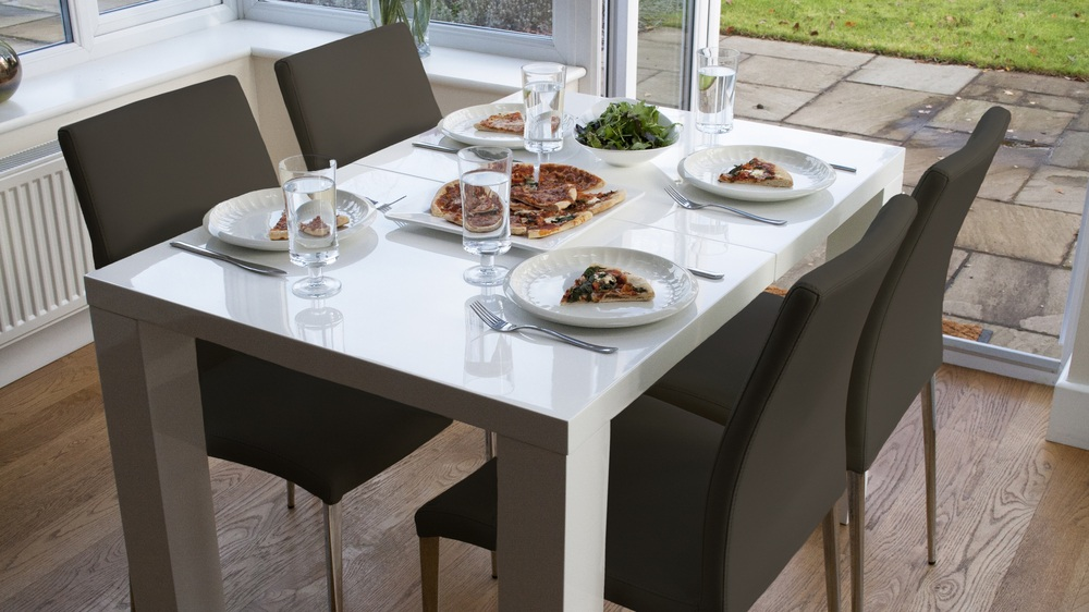 4-10 Seater Double Extending White Gloss Dining Table