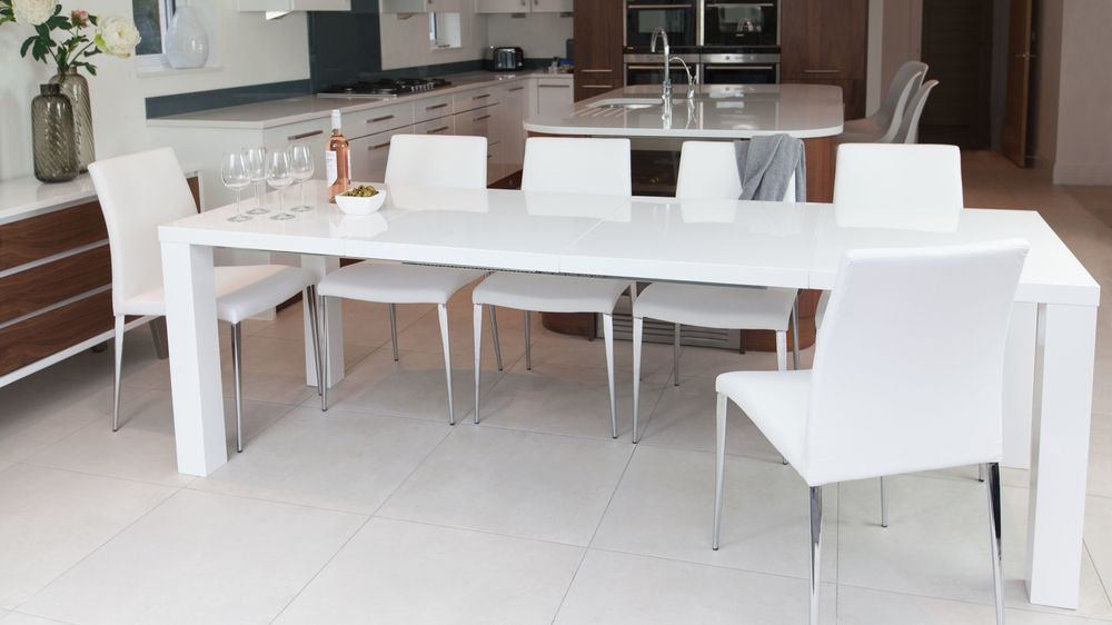 Comfortable Dining Chairs and White Gloss Extending Table