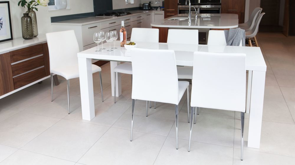 White high gloss extending dining table and chairs uk - White extending dining tables ...