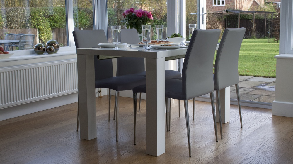 Stylish Grey Dining Chairs And White Gloss Extending Table