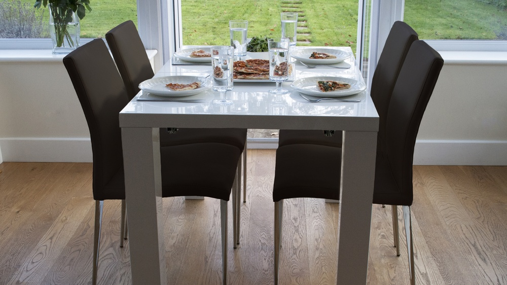 Large White Gloss Dining Table and Dark Brown Chairs