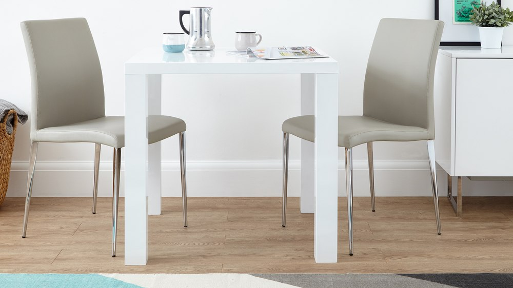 Modern White Gloss Kitchen Dining Set Square Table And Modern Chairs