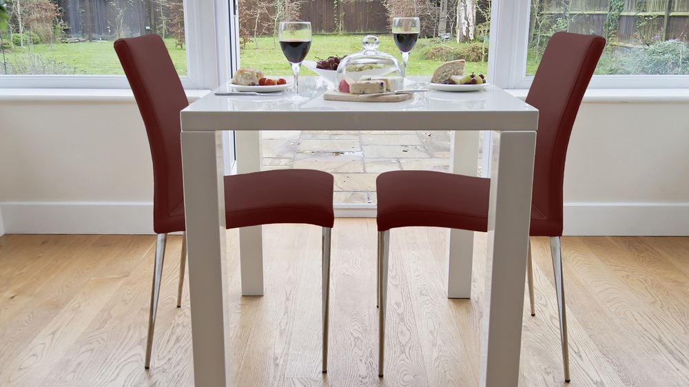 White Gloss and Red Kitchen Dining Set