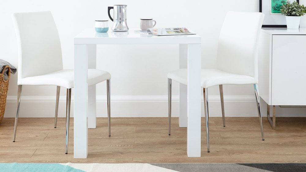 White Dining Chairs and Small White Gloss Kitchen Table