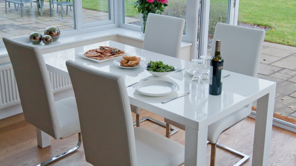 White Gloss and Cantilever Dining Set