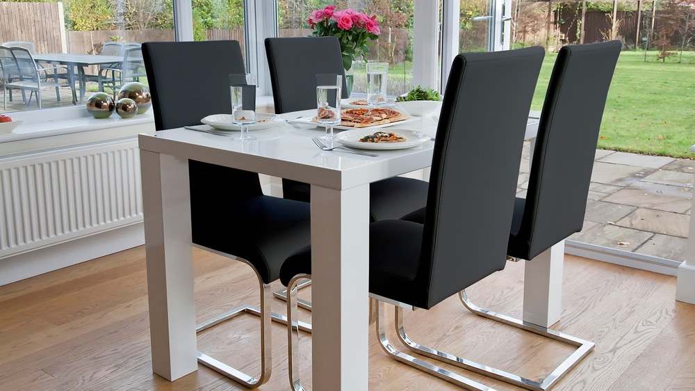4 Seat Dining Set | White Gloss Table | Cantilever Chairs