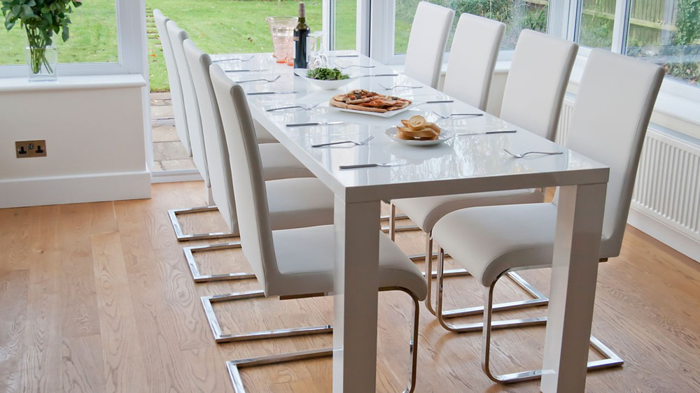 Large White Gloss Extending Dining Table and Swing Chairs