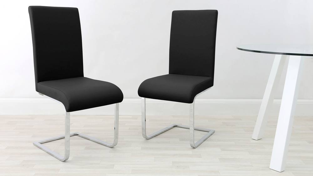 Black and Chrome Cantilever Dining Chairs