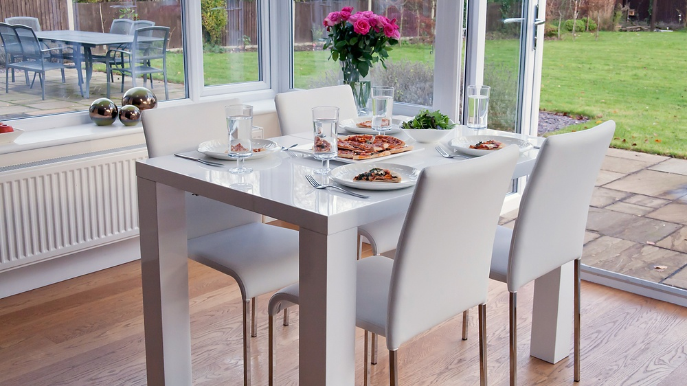 White Gloss 4 Seater Dining Set