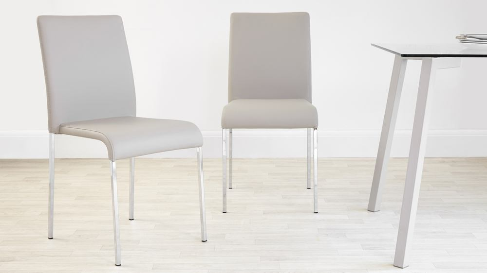 Light Grey Chrome Legged Dining Chair