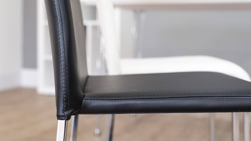 Faux Leather and Chrome Legged Dining Chairs