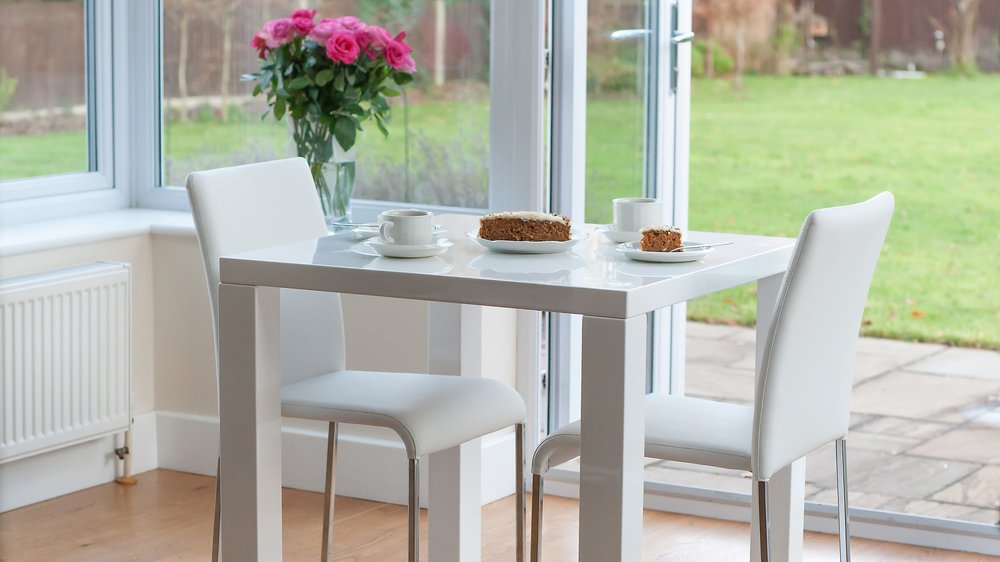 White Gloss Dining Set | Square Table Stackable Chairs | Uk