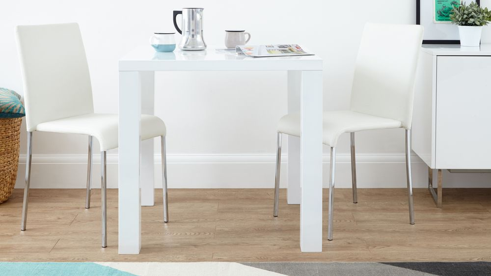White Gloss Dining Set Square Table Stackable Chairs UK