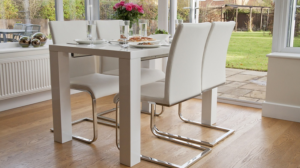 White Gloss Extending Dining Table And White Swing Dining Chairs