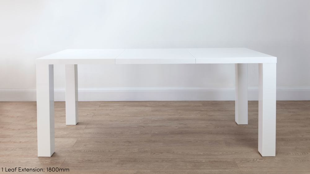 Modern White Gloss 1.8m Extending Dining Table