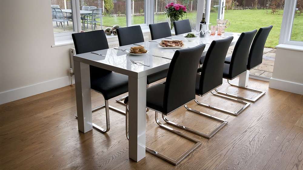 Modern Black and White Large Extending Dining Set
