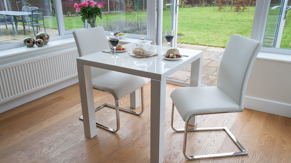 White Cantilever Dining Chairs and Square White Gloss Dining Table