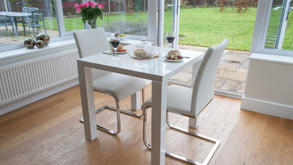 Small White Gloss Dining Table and Cantilever Dining Chairs