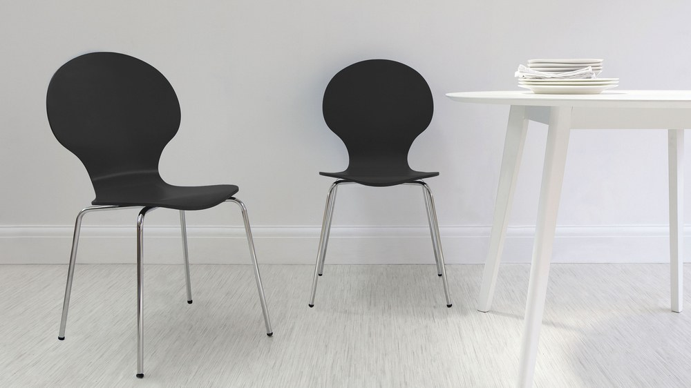 Black Dining Chair with Chrome Legs
