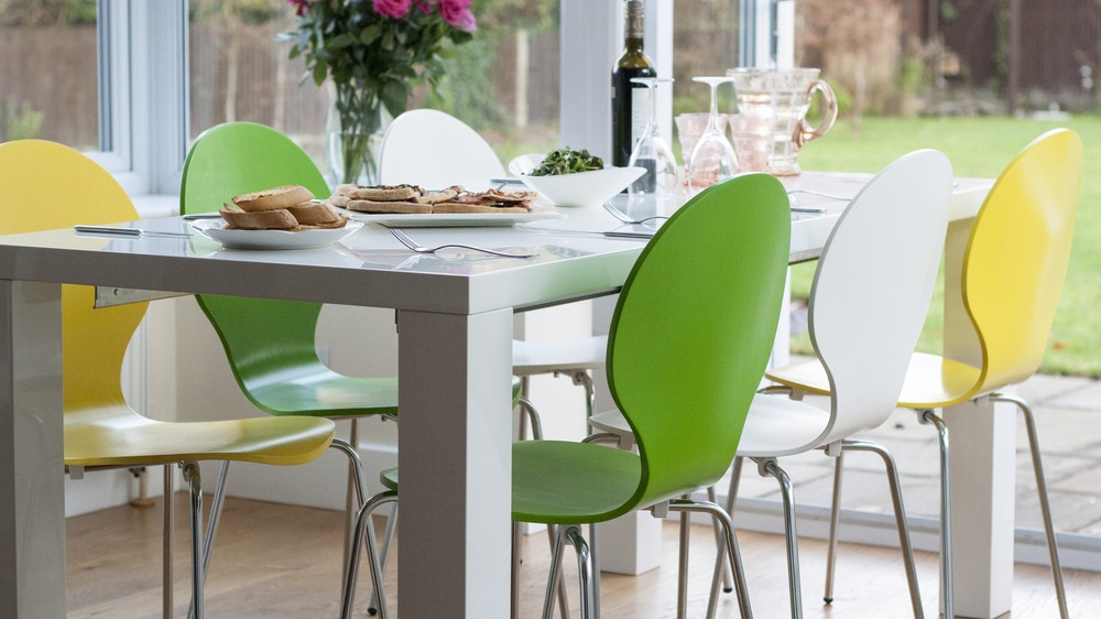 Stylish Coloured Dining Chairs with Chrome Legs