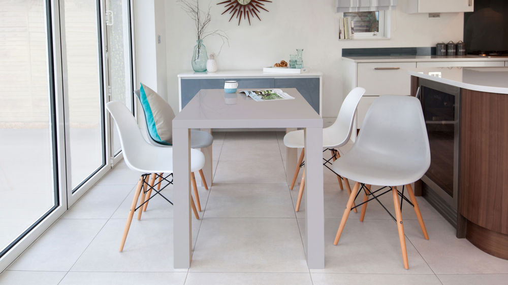 Grey Gloss  Seater and Eames Style Dining Set