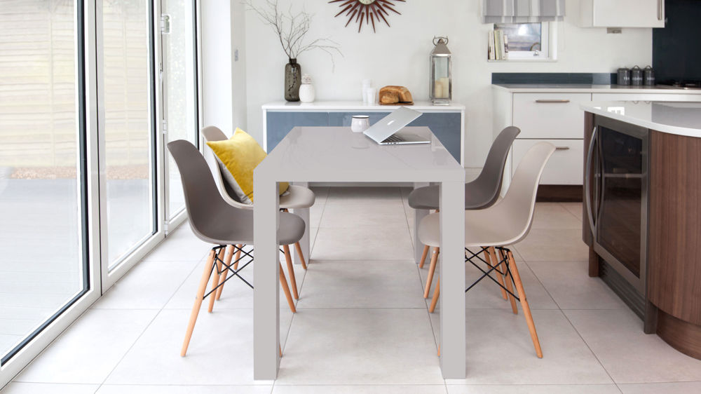 Modern Grey Dining Table and Eames Dining Set