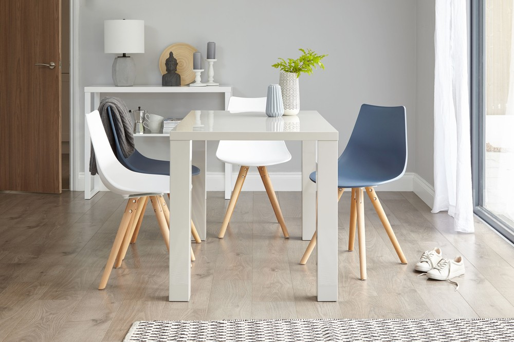 Modern Eames Dining Chairs and Grey Gloss Dining Table
