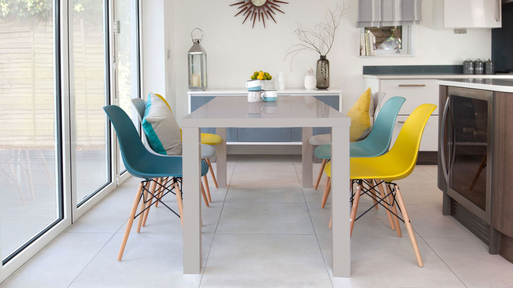 Famous Eames Chairs And Grey Gloss 6 Seater Dining Set| Danetti UK WA12