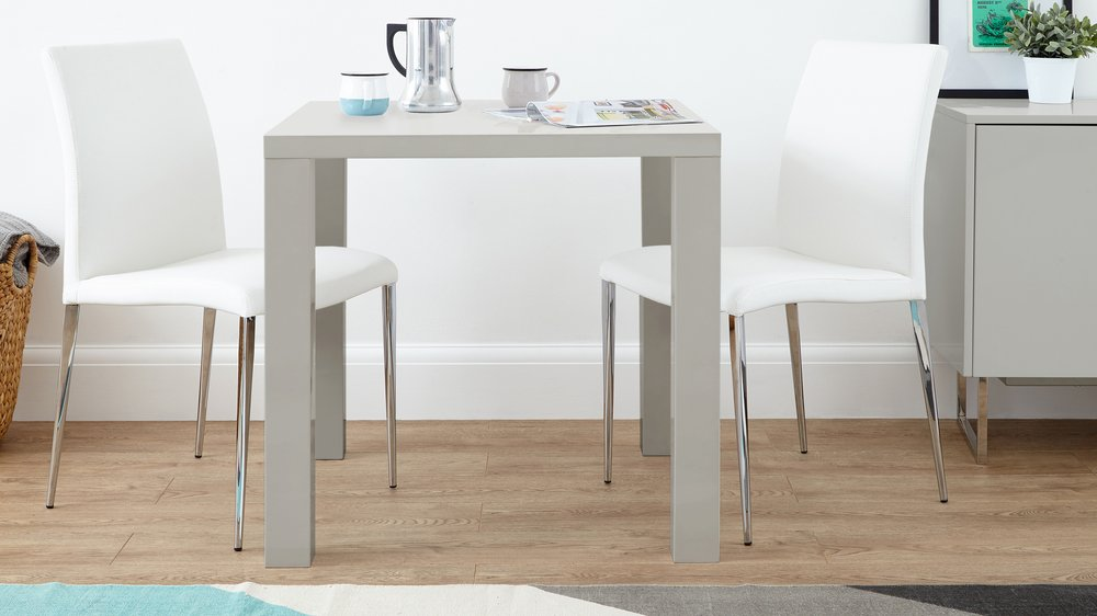 Contemporary Grey Gloss Dining Set for 2 People