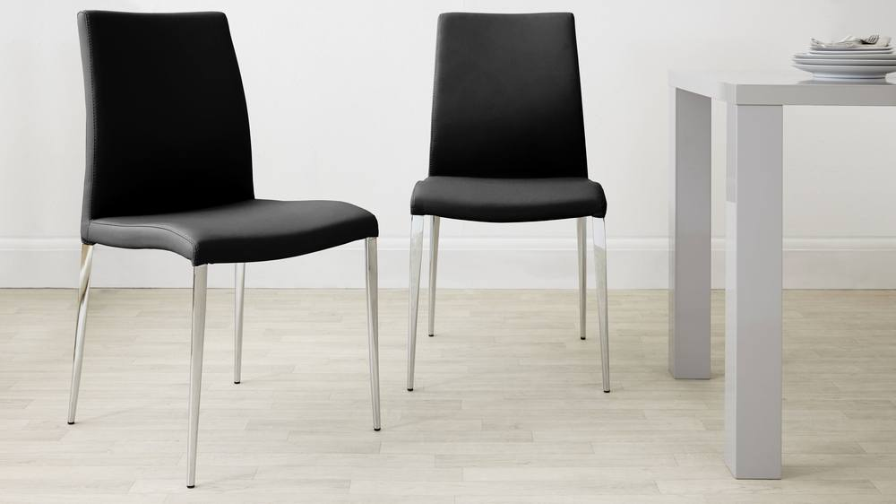 Stylish Black Dining Chair with Chrome Legs