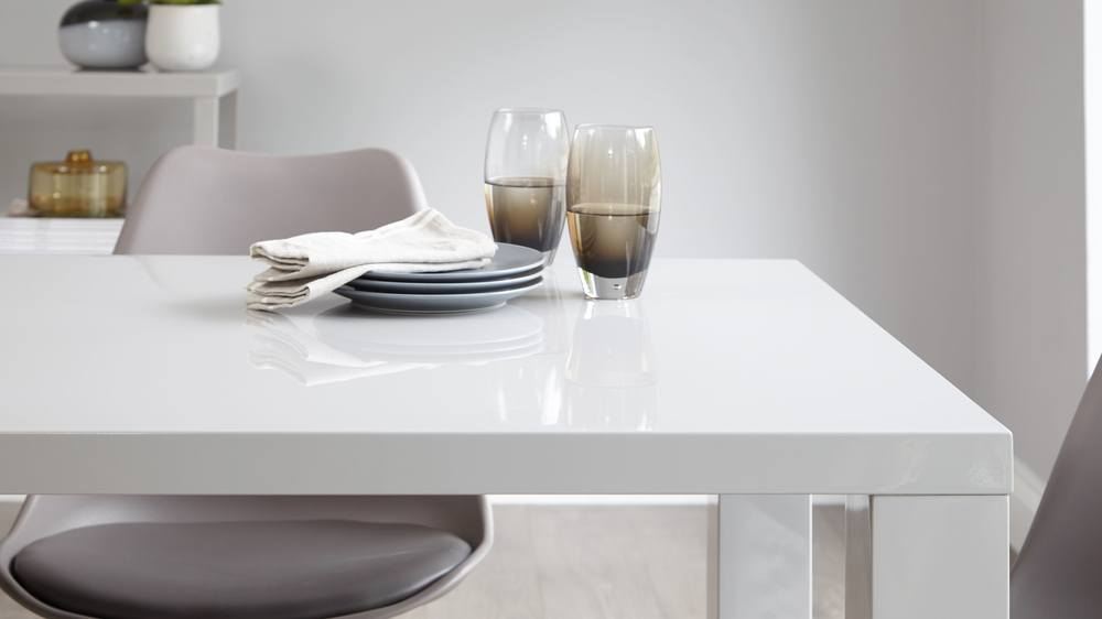 Wooden dining chair and grey gloss table dining set