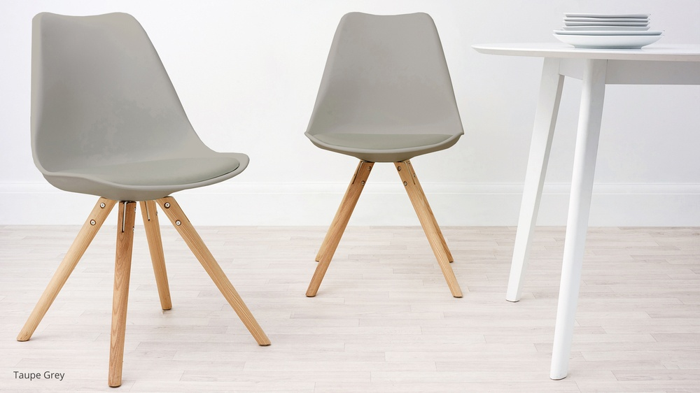 plastic and wood chairs