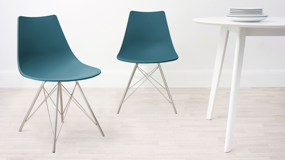 bright teal dining chairs