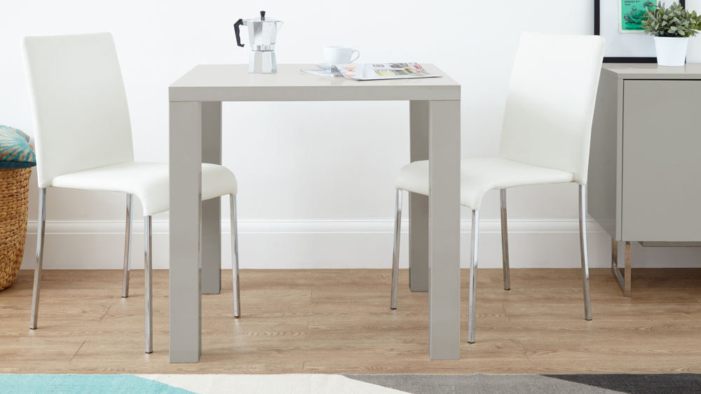Modern 2 Seater Dining Set in Grey Gloss