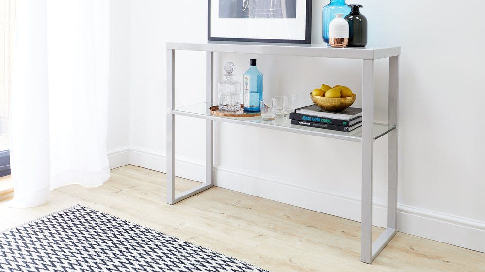 Fern grey gloss modern console table