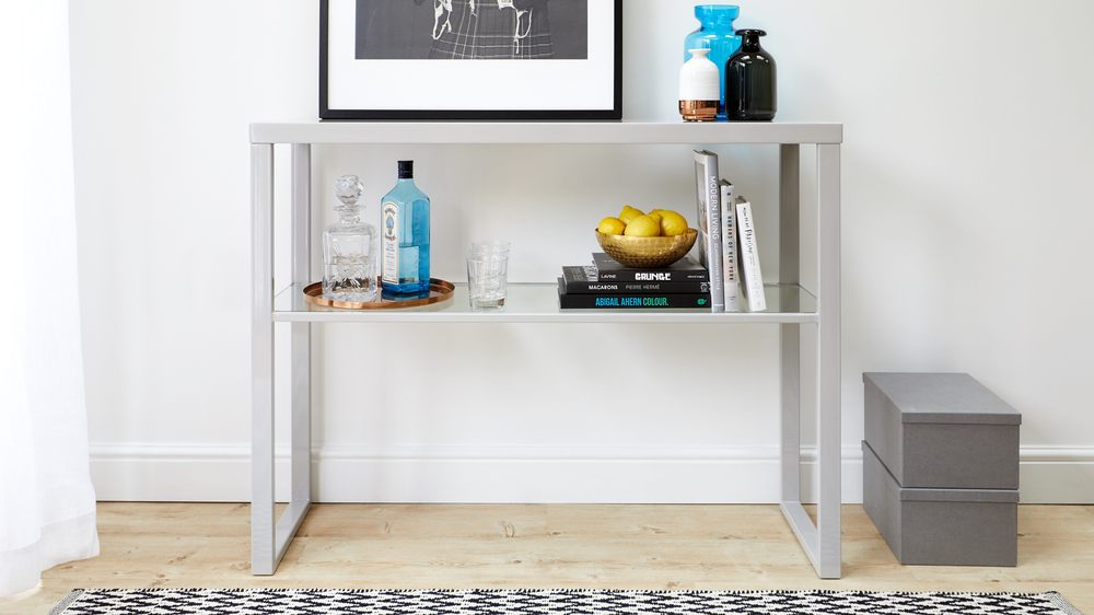 High shine console table