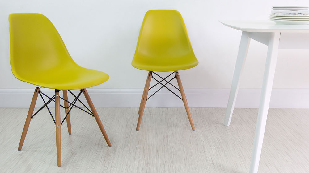 Yellow Eames Style Dining Chairs