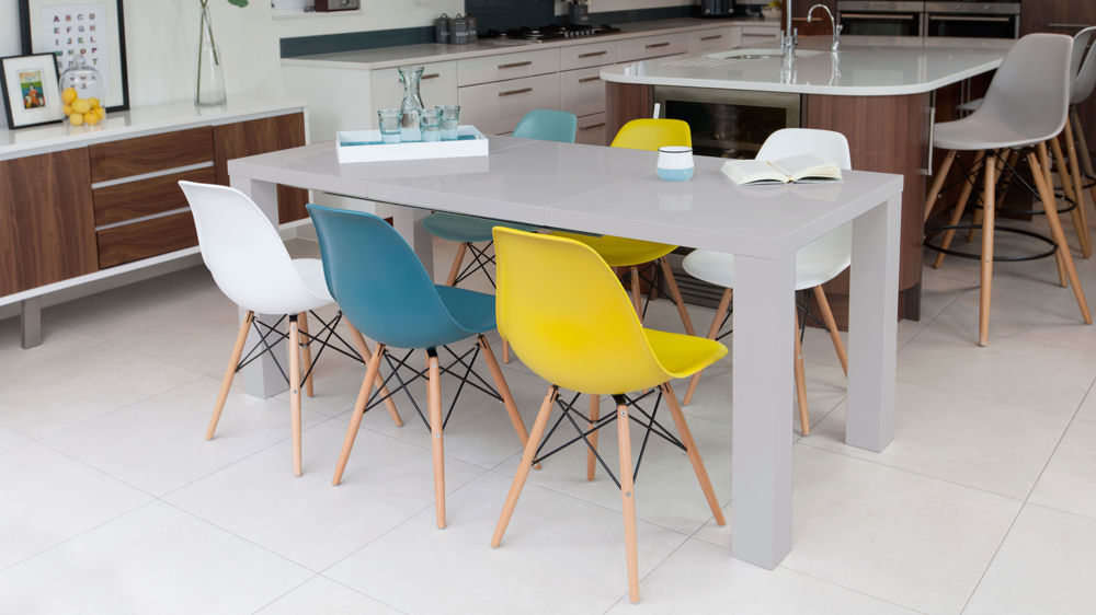 Modern Grey Gloss and Eames Extending Dining Set