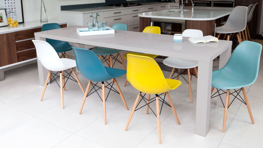 Large Extending Grey Gloss Dining Table and Coloured Chairs