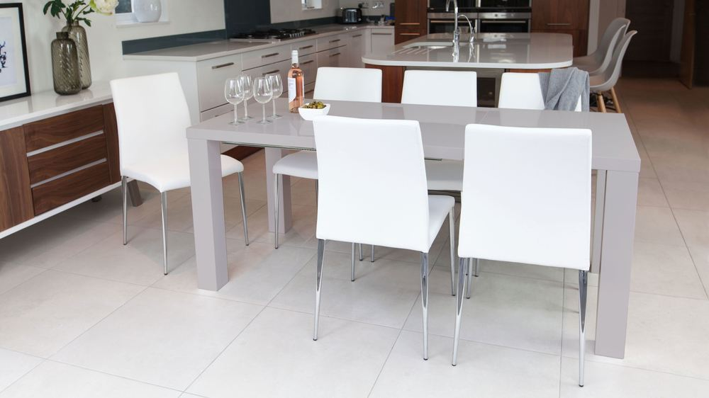 Large Grey Gloss Dining Table and White Chairs