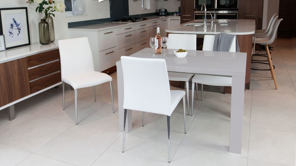 Contemporary White and Grey Gloss Extending Dining Set