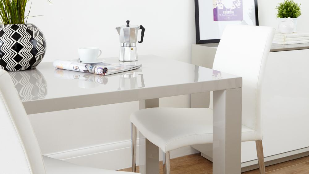 Large Grey Gloss Dining Table and White Dining Chairs