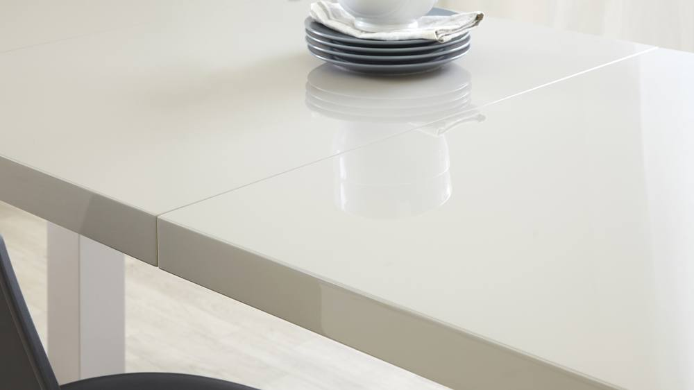 Contemporary extending grey gloss dining table