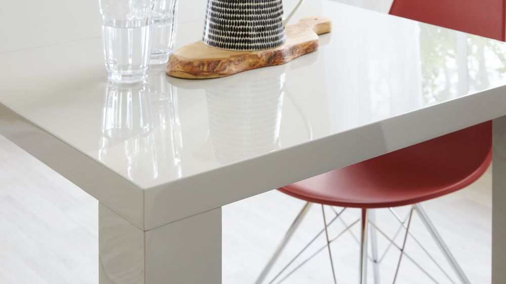 Modern Grey Gloss Extending Dining Table