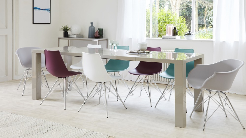 Grey Gloss Extending Dining Table and Eames Chairs