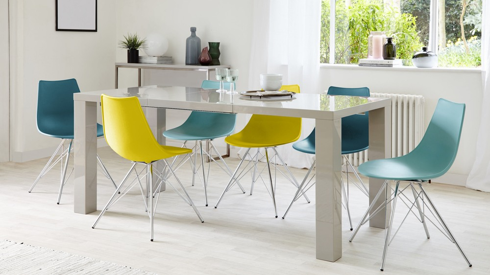 6 Seater Grey Gloss Extending Dining Table and Coloured Chairs