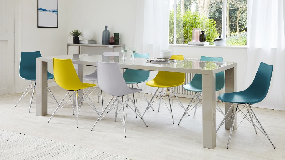 Large Extending Glossy Dining Table And Eames Chairs