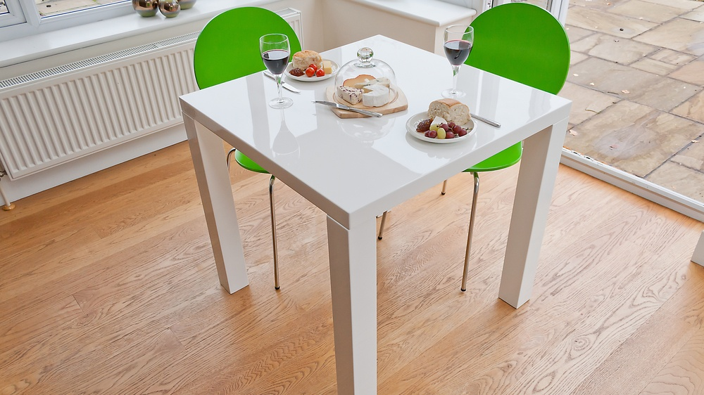 White Gloss Dining Table And Coloured Chairs Green 2 Seater Set